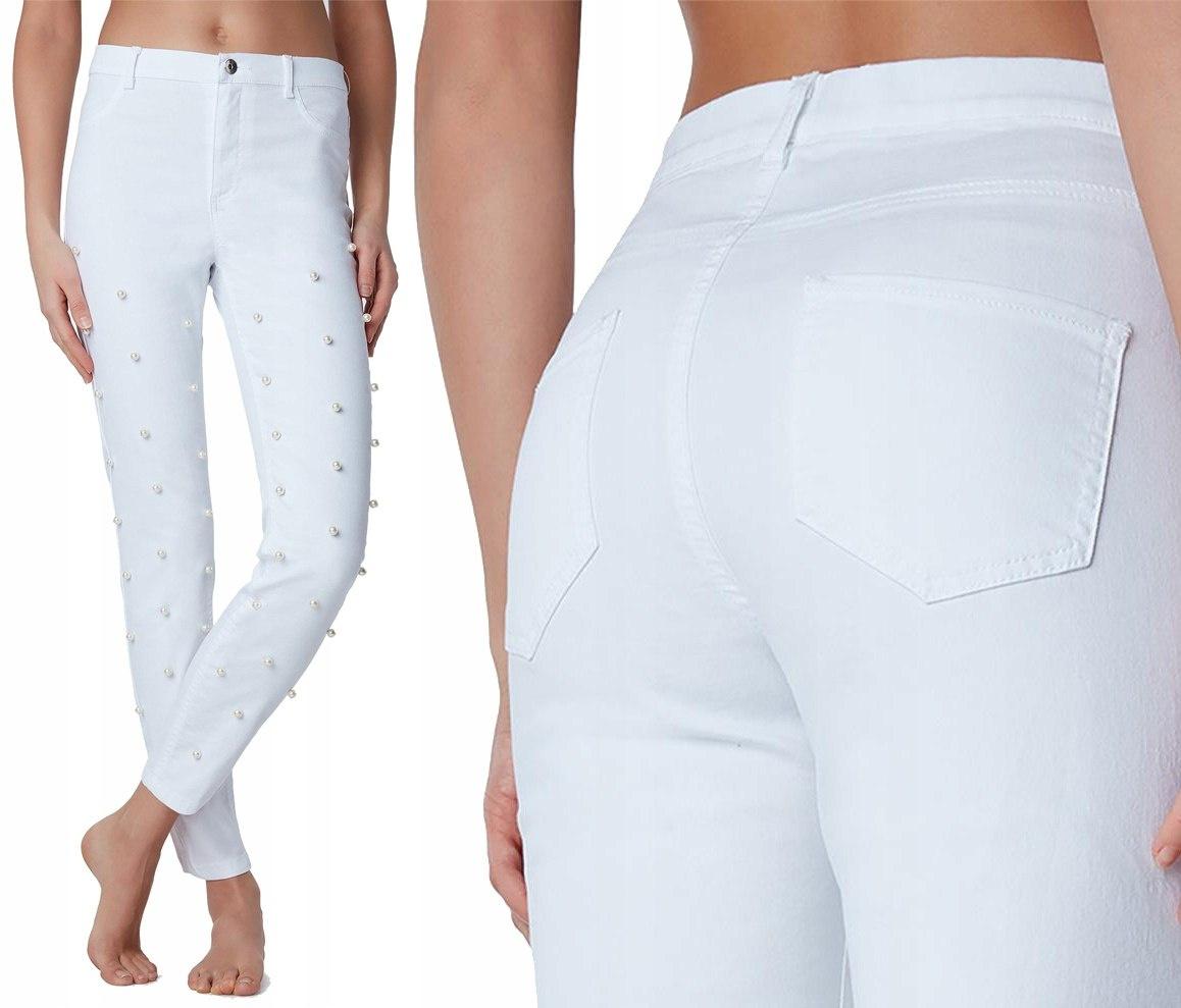 3a6078e256ecbc CiuszkiuMuszki.pl - bielizna damska, męska i dziecięca, odzież znanych  marek > CALZEDONIA spodnie jeans białe perełki M